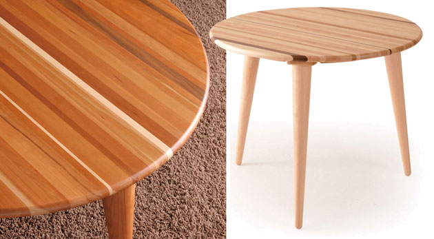丸天板のテーブル