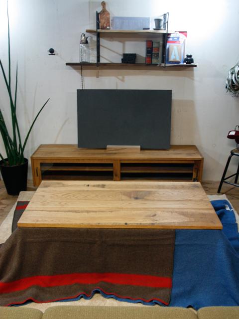 無垢オーク ラフ仕上げ/鉄脚ローテーブル/コタツ仕様