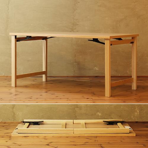 折り畳みダイニングテーブル ナチュラル色