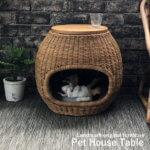 ラタン製 ペットハウスサイドテーブル