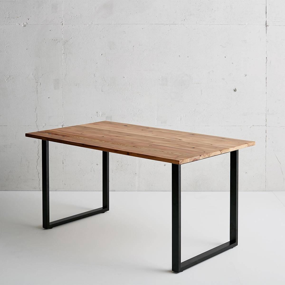 杉無垢材テーブル Square アイアン脚