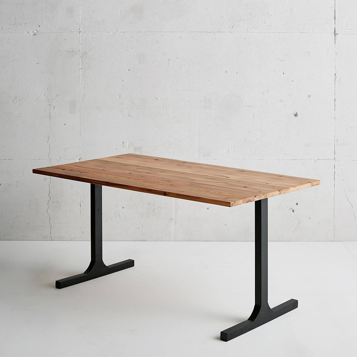 杉無垢材テーブル I shaped アイアン脚