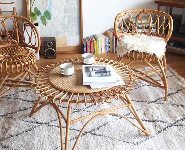 JUGLASユグラ ラウンドセンターテーブル(ラタン家具)