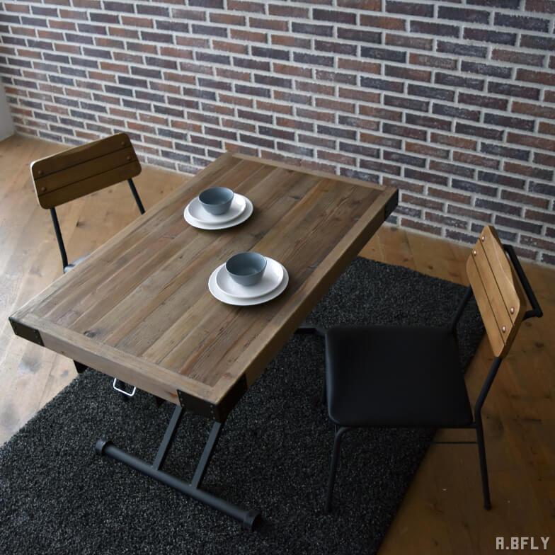 パイン古材 リフティングダイニングテーブル