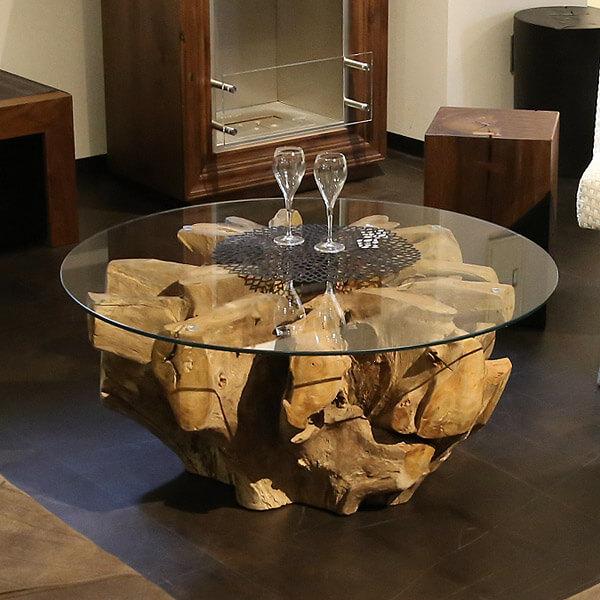 チーク古材根っこ×ガラス 丸テーブル