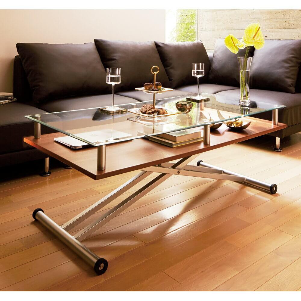 ガラス天板+棚付き昇降式リフティングテーブル