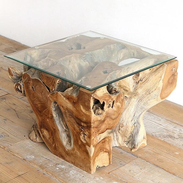 チーク古材スクエア×ガラス ローテーブル