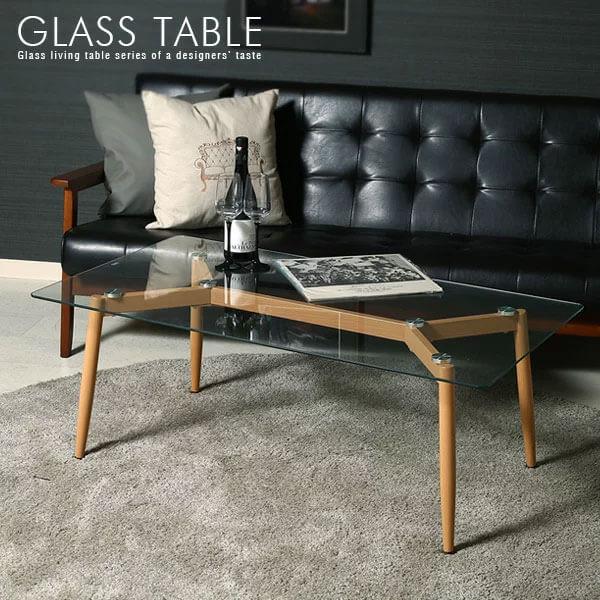 ガラスセンターテーブル 110 CROSS