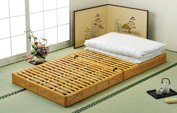 ラタン(籐) すのこベッド