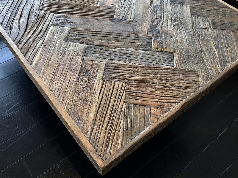 古材 ヘリンボーン テーブル