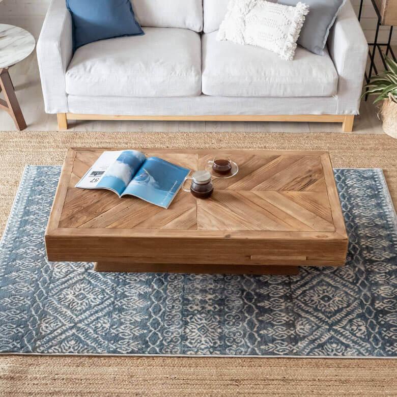 古材の寄木ローテーブル 長方形