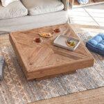 古材の寄木ローテーブル 正方形