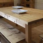 無垢のデザイン家具 ダイニングテーブル 引出し7杯