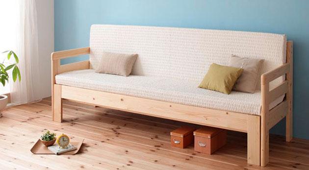 ... 木製フレームのソファーベッド